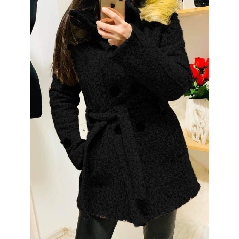 Palton dama gros cu blana artificiala