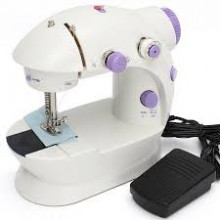 Mini masina de cusut SIKS®, cu pedala si ace incluse, portabila, practica, alb/ mov