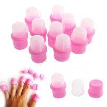Set 10 capsule pentru indepartarea ojei semipermanente, silicon, Roz/Transparent