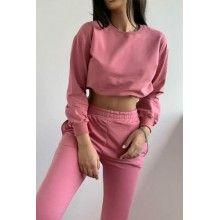 Trening dama roz cu pantaloni si bluza cu croi scurt