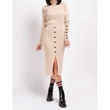 Compleu crem din tricot format din maleta si fusta conica