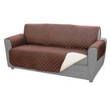Husa textila dubla EDAR® pentru protectie canapea cu doua fete, 2 locuri, bej/ maro