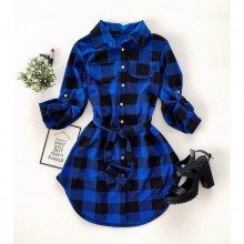 Rochie camasa dama in carouri albastru cu negru