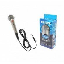 Microfon cu fir EDAR® dinamic, metalic, pentru karaoke, argintiu metalic