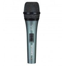 Microfon karaoke EDAR® dinamic, de performanta, cu fir, verde metalic