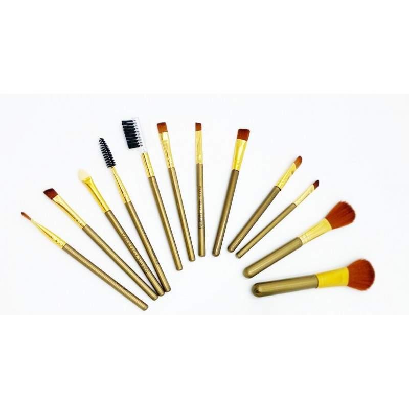 Set pensule SIKS® 12 bucati, pentru machiaj, in cutie de metal