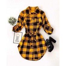 Rochita camasa dama in carouri galben cu negru