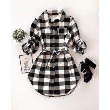 Rochita dama stil camasa in carouri negru cu alb