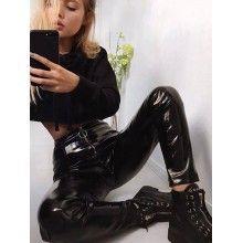 Pantaloni din latex dama cu talie inalta si fermoar