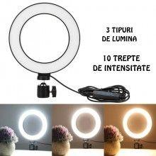 Lampa circulara EDAR® cu led, marime mijlocie 20 cm, 80 leduri, pentru fotografii