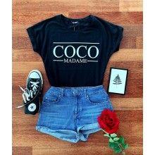 Tricou negru dama cu maneca scurta COCO MADAME masura M
