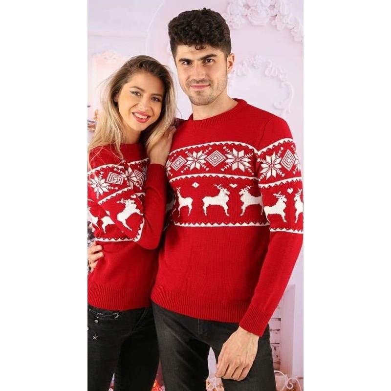 Set pulovere pentru cuplu cu imprimeu Reni