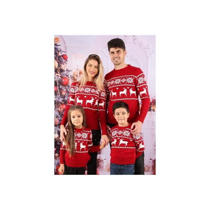Set 3 pulovere de familie cu imprimeu Reni