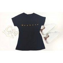 Tricou dama negru cu imprimeu WEEKEND, masura M