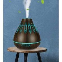 Umidificator aromaterapie cu ultrasunete si lumini LED, 400 ml, maro inchis