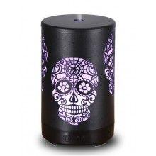 Umidificator ultrasunete SIKS® 7 lumini led, difuzor aroma, metal, model craniu, negru