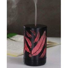 Umidificator ultrasunete SIKS® 7 lumini led, difuzor aroma, metal, model pana, 100 ml negru