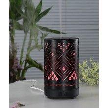 Umidificator ultrasunete SIKS® 7 lumini led, difuzor aroma, metal, model romb, 100 ml negru