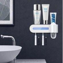 Dozator SIKS® pasta de dinti si sterilizator UV periute, instalare usoara, alb