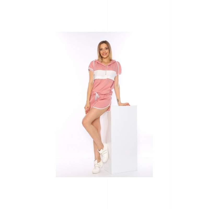 Compleu roz dama cu pantaloni scurti si hanorac cu maneca scurta