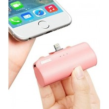 Baterie externa SIKS® cu 3 lumini led, 3300 mAh, pentru iPhone, lightning, roz