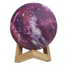 Lampa luna roz cu stand de lemn, 13 cm