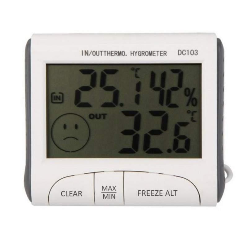 Termometru digital de camera cu higrometru EDAR®, montare pe prete sau masa, alb
