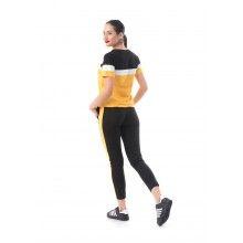 Trening dama negru si galben cu maneca scurta masura XS