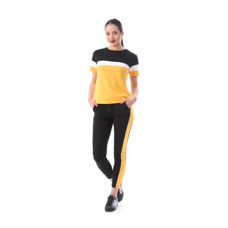 Trening dama negru si galben cu maneca scurta masura L