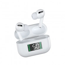 Casti bluetooth 5.0 cu afisaj digital, procent baterie, design ergonomic, microfon incorporat, alb