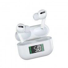 Casti bluetooth 5.0 EDAR® cu afisaj digital, procent baterie, microfon incorporat, limitare zgomot, alb