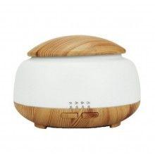 Umidificator cu ultrasunete si 7 lumini led, purificator aer, difuzor aroma 300ml, lemn deschis/alb