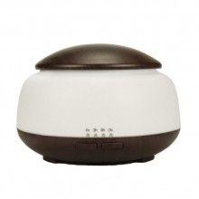 Umidificator cu ultrasunete si 7 lumini led, purificator aer, difuzor aroma 300ml, lemn inchis/alb