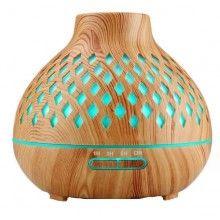 Umidificator cu ultrasunete, lumini led, cu telecomanda, 400 ml, lemn deschis