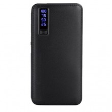 Baterie externa EDAR® 20.000 mAh, trei porturi usb, model piele, negru