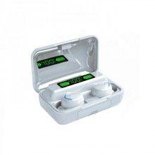 Casti bluetooth 5.0 cu afisaj digital si procent baterie, F9, microfon incorporat, alb