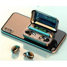 Casti bluetooth EDAR® 5.0 cu afisaj digital, procent baterie, F9, microfon incorporat, negru