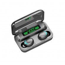 9Casti bluetooth EDAR® 5.0 cu afisaj digital, procent baterie, F9, microfon incorporat, negru