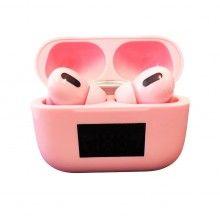 Casti bluetooth 5.0 cu afisaj digital, procent baterie, design ergonomic, microfon incorporat, roz