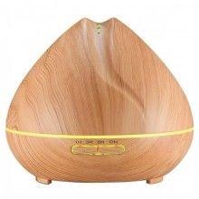 Umidificator cu ultrasunete, lumini led, 550 ml, lemn deschis