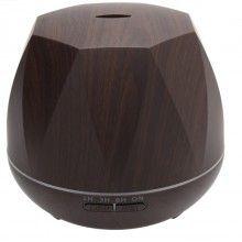 Umidificator cu ultrasunete EDAR®, difuzor aromaterapie, lumini led 7 culori, model diamant, 550 ml, lemn inchis