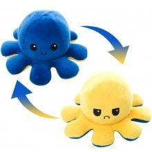 Caracatita reversibila EDAR® jucarie de plus doua culori, cu lumini led, galben-albastru