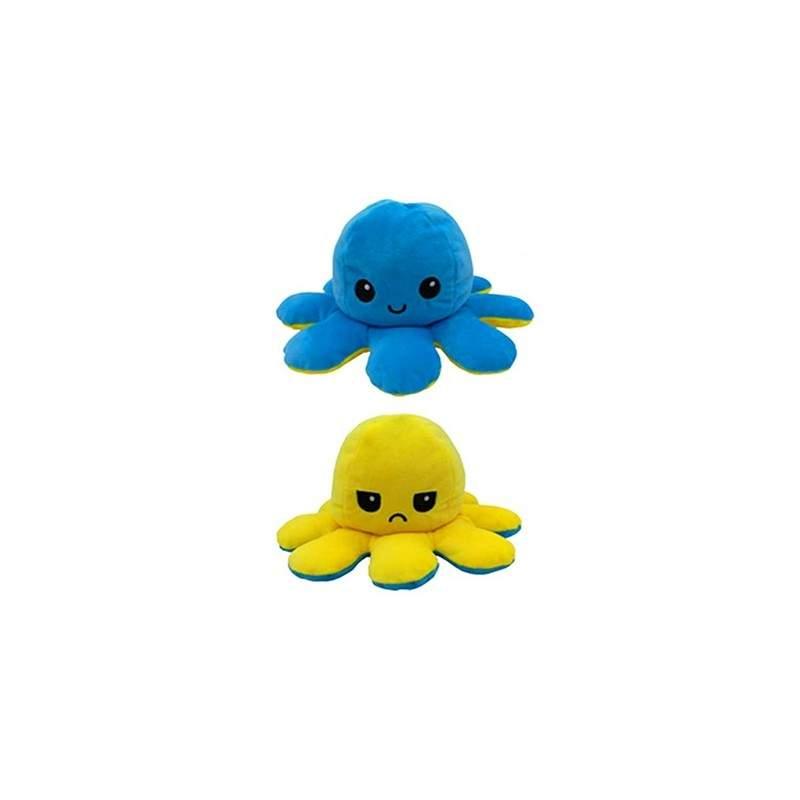 Caracatita reversibila EDAR® jucarie de plus doua culori, 20x15 cm, galben-albastru