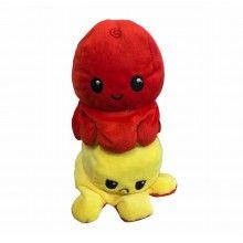 Caracatita reversibila EDAR® jucarie de plus doua culori, 20x15 cm, rosu/galben