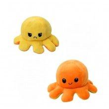 Caracatita reversibila EDAR® jucarie de plus doua culori, 20x15 cm, portocaliu-galben