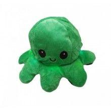 Caracatita reversibila, jucarie de plus doua culori, cu lumini led, negru-verde