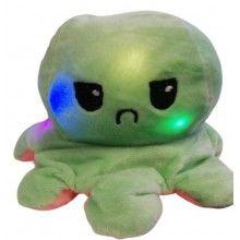 Caracatita reversibila EDAR® jucarie de plus doua culori, cu lumini led, 20x15 cm, verde/roz