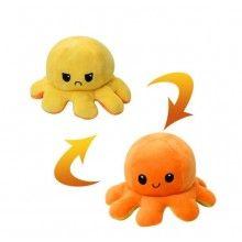 Caracatita reversibila EDAR® jucarie de plus doua culori, cu lumini led, 20x15 cm, galben/portocaliu
