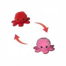 Caracatita reversibila, jucarie de plus doua culori, rosu-roz