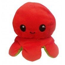 Caracatita reversibila EDAR® jucarie de plus doua culori, 20x15 cm, rosu/verde